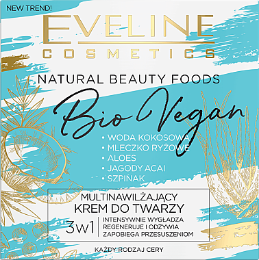Овлажняващ крем за лице - Eveline Cosmetics Natural Beauty Foods Bio Vegan — снимка N1
