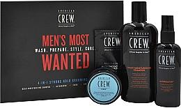 Парфюмерия и Козметика Комплект - American Crew Men's Most Wanted Strong Hold (шампоан/250ml + крем/50g + спрей/100ml + балсам/7.4ml)