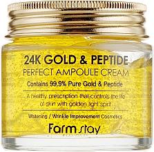 Парфюмерия и Козметика Ампулен крем за лице със злато и пептиди - FarmStay 24K Gold & Peptide Perfect Ampoule Cream
