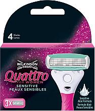 Парфюмерия и Козметика Резервни ножчета за бръснене, 3 бр. - Wilkinson Sword Quattro for Women Sensitive