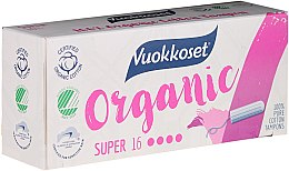 Парфюми, Парфюмерия, козметика Органични тампони без апликатор, 16 бр - Vuokkoset Organic Super Tampons