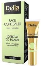 Парфюми, Парфюмерия, козметика Коректор за лице против зачервяване ,зелен - Delia Free Skin Face Concealer