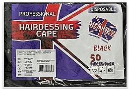 Парфюмерия и Козметика Еднократни пелерини за подстригване от черно фолио - Ronney Professional Hairdressing Cape