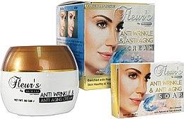 Парфюмерия и Козметика Комплект за лице - Hemani Fleurs Anti Wrinkle Set (f/cr/80ml + soap/30ml)