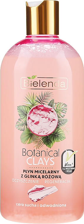 Мицеларна вода за почистване на грим с розова глина - Bielenda Clays