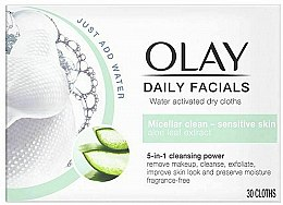 Парфюмерия и Козметика Мицеларни почистващи кърпички за лице за чувствителна кожа - Olay Cleanse Daily Facials Cloths Sensitive