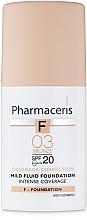 Парфюмерия и Козметика Деликатен фон дьо тен SPF20 - Pharmaceris F Intense Coverage Mild Fluid Foundation SPF20