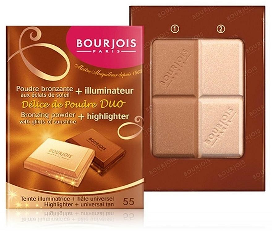Компактна пудра за лице - Bourjois Delice De Poudre Bronzing Duo Powder + Highlighter — снимка N2