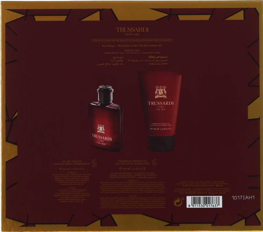 Trussardi Uomo The Red - Комплект (тоал. вода/50ml + душ гел/100ml) — снимка N2