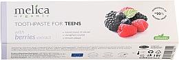 Парфюмерия и Козметика Детска паста за зъби с вкус на горски плодове, 6-14 год. - Melica Organic Toothpaste For Teens With Berries Extract