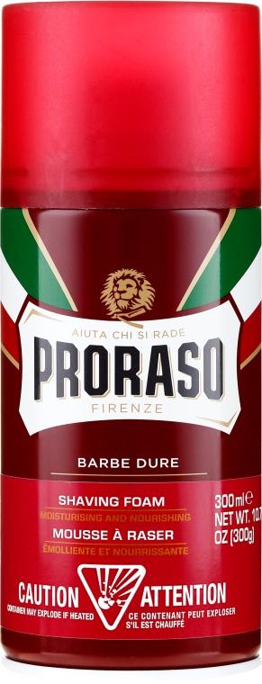 Пяна за бръснене за твърда брада с масло от Шеа и сандалово дърво - Proraso Red Shaving Foam — снимка N1