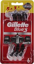 Парфюмерия и Козметика Комплект самобръсначки за едноктрана употреба, 5+1 бр. - Gillette Blue III Red and White