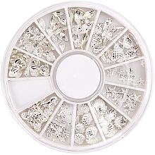 Парфюмерия и Козметика Декорации за маникюр в органайзер - Peggy Sage Carousel For Nail Decorations Summer Silver