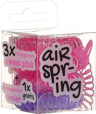 Ластици за коса розови+лилав, 4 бр. - Hair Springs — снимка N1
