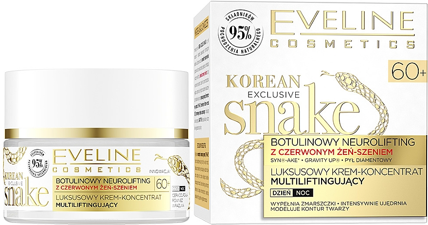 Крем за лице с екстракт от змия - Eveline Cosmetics Korean Exclusive Snake Luxury Intense Restoring Cream Concentrate With Red Ginseng 60+