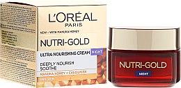 Парфюми, Парфюмерия, козметика Овлажняващ нощен крем за лице - L'Oreal Paris Nutri Gold Night Cream