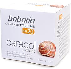 Парфюми, Парфюмерия, козметика Хидартиращ крем със секрет от охлюв 20% - Babaria Snail Extract Moisturiser Face Cream SPF20