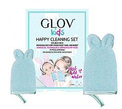 Парфюмерия и Козметика Комплект ръкавици за почистване на лице - Glov Kids Happy Cleaning Set Blue (big/glove/1pcs + small/glove/1pcs)