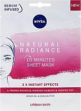 Парфюмерия и Козметика 10 минутна подхранваща маска за лице - Nivea Natural Radiance 10 Minutes Sheet Mask