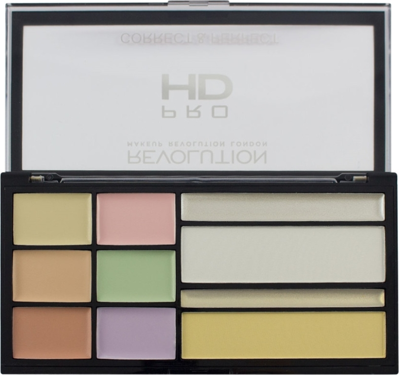 Палитра коректори за лице - Makeup Revolution HD Correct and Perfect Palette
