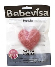 """Парфюмерия и Козметика Гъба за измиване, сърце """"Роза"""" - Bebevisa Konjac Sponge"""