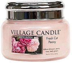 Парфюми, Парфюмерия, козметика Ароматна свещ в бурканче - Village Candle Fresh Cut Peony Glass Jar