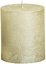 Парфюмерия и Козметика Цилиндрична свещ Metallic Ivory, 80/68 мм - Bolsius Candle