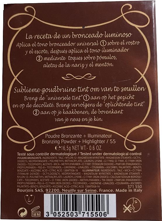 Компактна пудра за лице - Bourjois Delice De Poudre Bronzing Duo Powder + Highlighter — снимка N4
