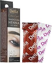 Парфюмерия и Козметика Кафява къна на прах за вежди - Delia Brow Dye Henna Traditional Brown