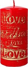 Парфюмерия и Козметика Декоративна свещ, червена, 7х14см - Artman Lovely