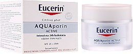 Парфюми, Парфюмерия, козметика Крем за лице - Eucerin AquaPorin Active Deep Long-lasting Hydration For All Skin Types SPF 25 + UVA