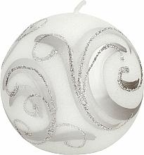 Парфюмерия и Козметика Декоративна свещ, топка, бяла със сребристо, 10 см - Artman Christmas Ornament