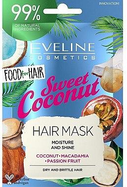 Маска за коса с кокос, макадамия и маракуя - Eveline Cosmetics Food For Hair Sweet Coconut Hair Mask (мостра)