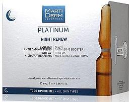 Парфюмерия и Козметика Нощни ампули за лице против фотостареене - MartiDerm Platinum Night Renew Ampollas