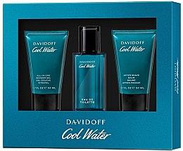Парфюми, Парфюмерия, козметика Davidoff Cool Water - Комплект (тоал. вода/40 ml + душ гел/50 ml + афтър. балсам/50 ml)
