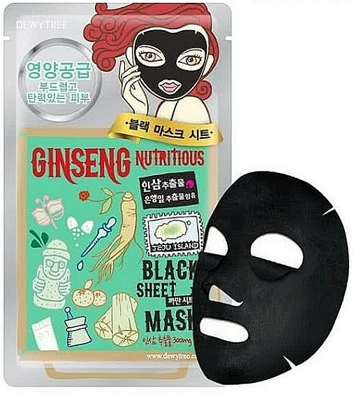 Подхранваща памучна маска за лице - Dewytree Ginseng Nutritious Black Sheet Mask — снимка N1
