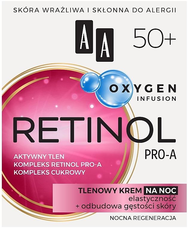 Нощен кислороден крем за лице 50+ - AA Oxygen Infusion Retinol Pro-A Night Cream