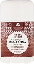 Парфюмерия и Козметика Дезодорант на базата на сода с аромат на северна гора - Ben & Anna Natural Soda Deodorant Nordic Timber