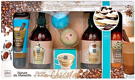 "Комплект ""Кафе и шоколад"" - Nature de Marseille (крем за ръце/100+шампоан/300+душ гел/300ml+лосион за тяло/300ml+бомбичка за вана/2х80g+сапун/100g) — снимка N1"