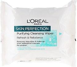 Парфюми, Парфюмерия, козметика Мокри кърпички за премахване на грим - L'Oreal Paris Skin Perfection Puryfying Cleansing Wipes