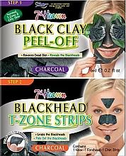 Парфюмерия и Козметика Маска за лице с черна глина + лентички за нос, брадичка и чело - 7th Heaven Charcoal Duo Black Clay Peel Off