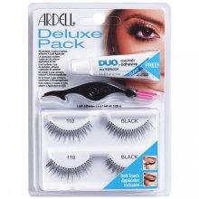 Парфюми, Парфюмерия, козметика Комплект изкуствени мигли и лепило - Ardell Deluxe Pack 110 Black