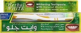 Парфюмерия и Козметика Комплект за зъби - White Glo Herbal White (паста/100ml + жълта четка/1бр.)