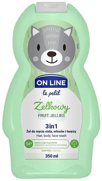 Измиващ гел за коса, тяло и лице с аромат на плодови желирани бонбони - On Line Le Petit Fruit Jellies 3 In 1 Hair Body Face Wash