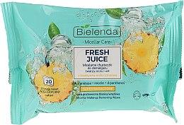 """Парфюми, Парфюмерия, козметика Мицеларни кърпички за премахване на грим """"Ананас"""" - Bielenda Fresh Juice Micelar Care Make-up Removing Wipes"""