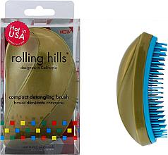 Парфюмерия и Козметика Компактна четка за коса, златна - Rolling Hills Compact Detangling Brush Gold