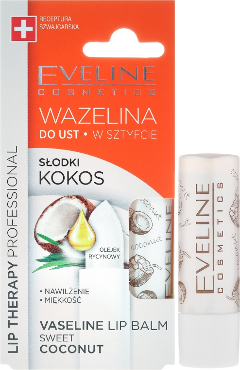 Балсам за устни - Eveline Cosmetics Vaseline Lip Balm Sweet Coconut