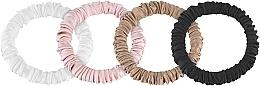 """Парфюмерия и Козметика Комплект ластици за коса от естествена коприна """"Skinny"""" - Makeup Scrunchie Set Black Milk Powder Gold"""