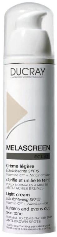 Лек крем против пигментация SPF 15, за нормална и комбинирана кожа на лицето - Ducray Melascreen Eclat Lightening Light Cream SPF15 — снимка N1