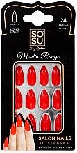 Парфюми, Парфюмерия, козметика Комплект изкуствени нокти - Sosu by SJ False Nails Long Stiletto Moulin Rouge